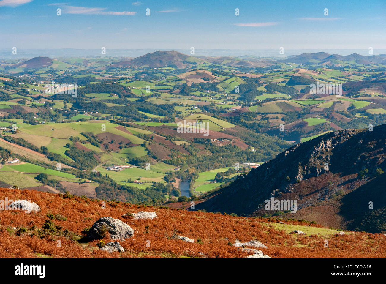 In Autumn, a view of a part of the French Basque country hinterland seen from the vantage point of Mount Mondarrain (2,457 feet). - Stock Image