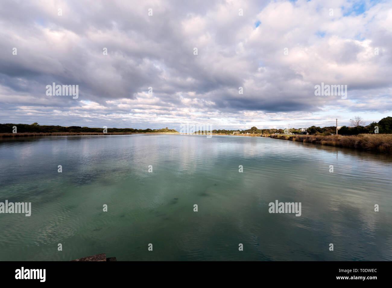 Estuarine lake,  Anglesea on the Great Ocean Road, Victoria, Australia - Stock Image