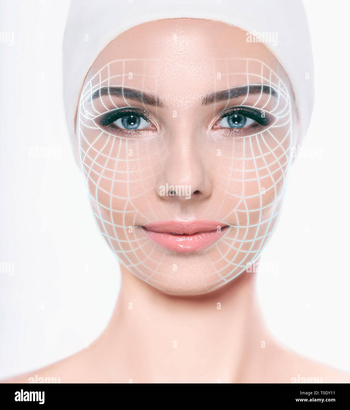 beautiful woman face with lifting arrows on skin . Concept of facial lifting, mesotherapy and anti aging cosmetology procedure - Stock Image