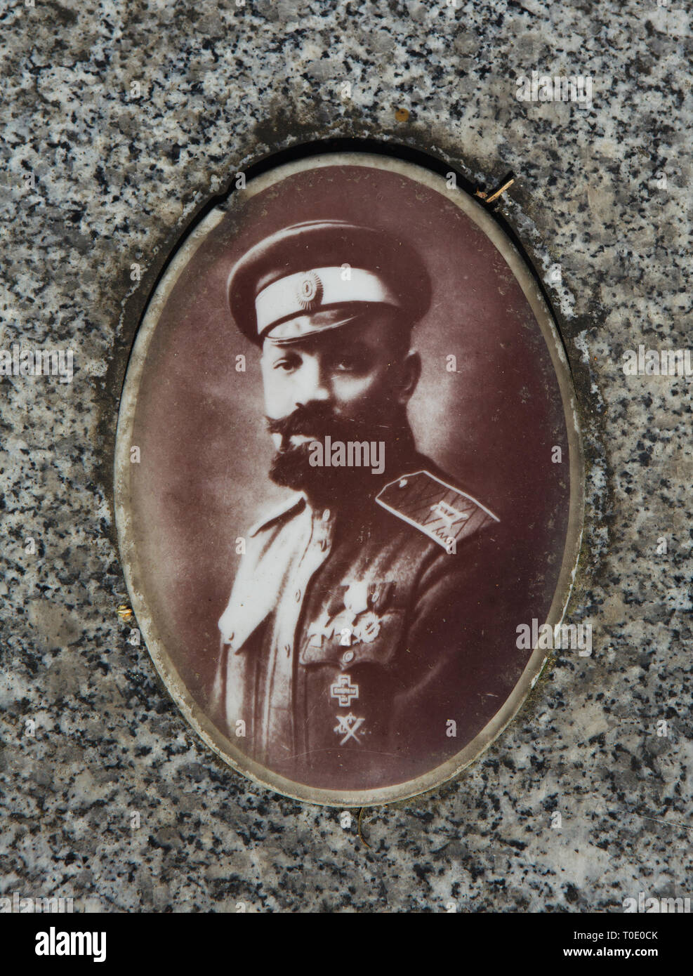 Russian general Alexander Kutepov depicted on his cenotaph at the Russian Cemetery in Sainte-Geneviève-des-Bois (Cimetière russe de Sainte-Geneviève-des-Bois) near Paris, France. General Kutepov was one of the leaders of the White Army during the Russian Civil War and the commander of the Russian All-Military Union (ROVS) in exile. On 26 January 1930, he was kidnapped in Paris by agents of the Soviet secret service OGPU, later known as the NKVD and the KGB. His body was never found. - Stock Image