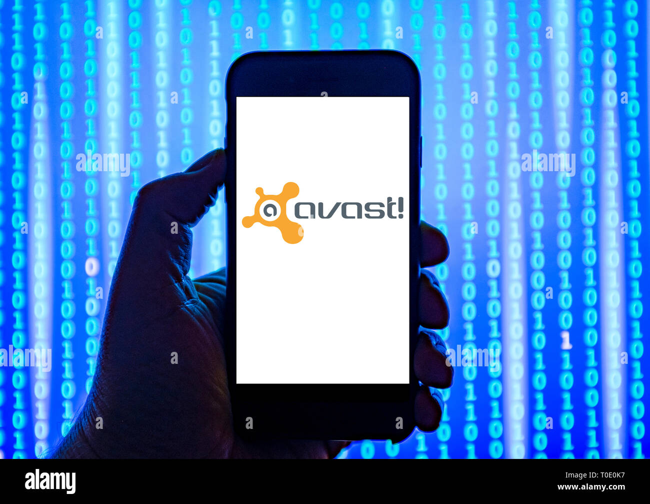 Person holding smart phone with Avast logo displayed on the screen. - Stock Image