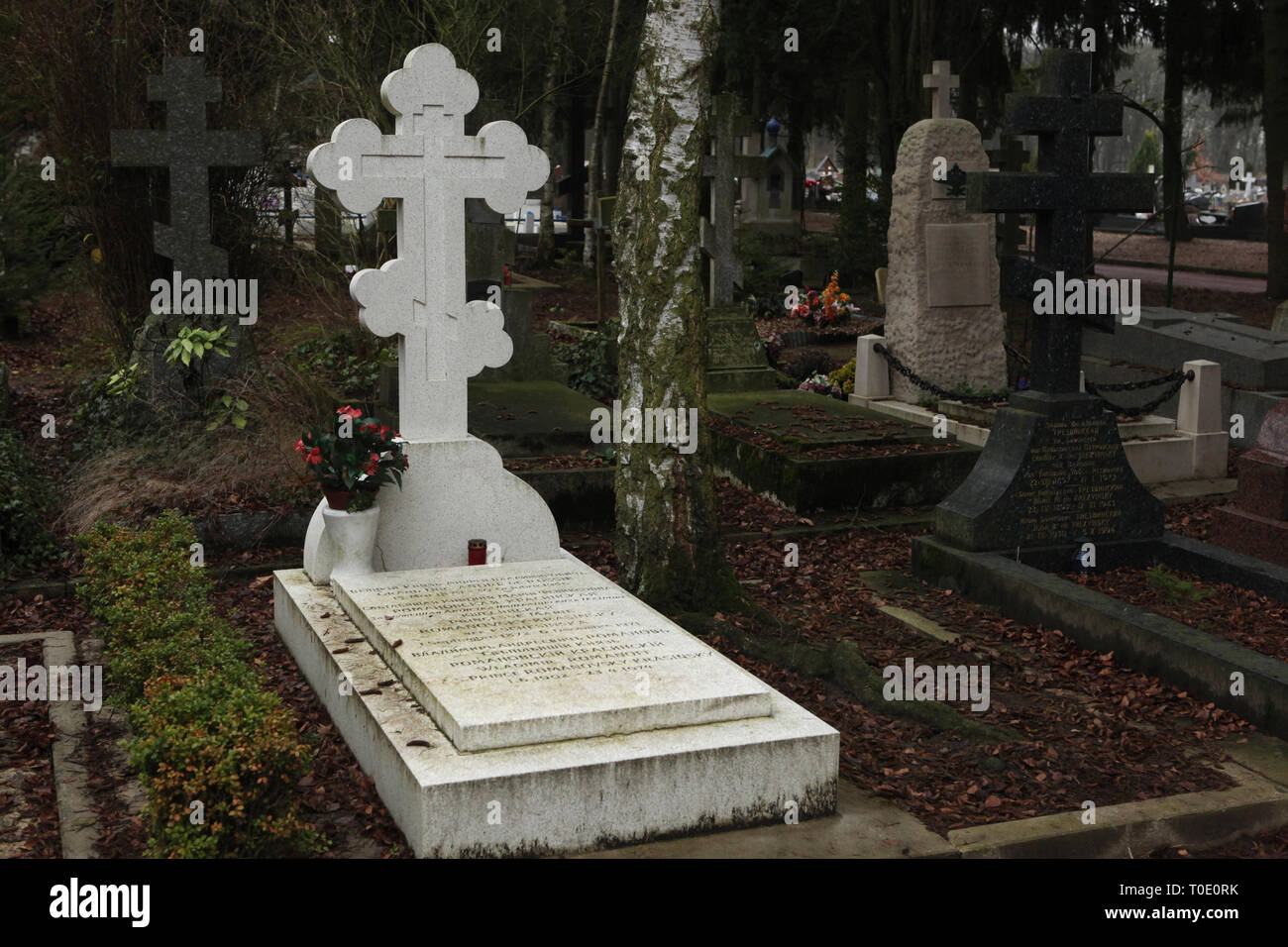 Grave of Grand Duke Andrei Vladimirovich of Russia (1879-1956) and his wife Russian ballerina Mathilde Kschessinska (1872-1971) known as Princess Romanovskaya-Krasinskaya after her marriage at the Russian Cemetery in Sainte-Geneviève-des-Bois (Cimetière russe de Sainte-Geneviève-des-Bois) near Paris, France. Their son Prince Vladimir Romanovsky-Krasinsky (1902-1974) are also buried in the grave. - Stock Image