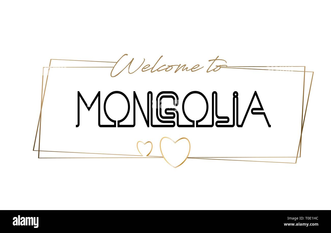 Mongolia Welcome to text Neon lettering typography. Word for logotype, badge, icon, card, postcard, logo, banner with Wired Golden Frames and Hearts D - Stock Vector