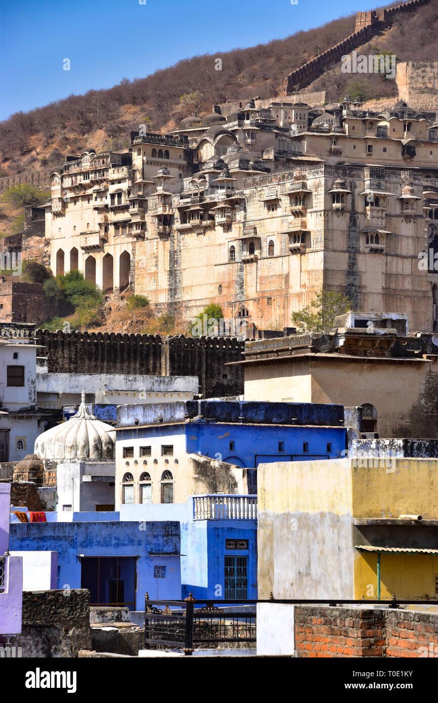 Bundi Palace & Taragargh Fort, Bundi, Rajasthan, India - Stock Image