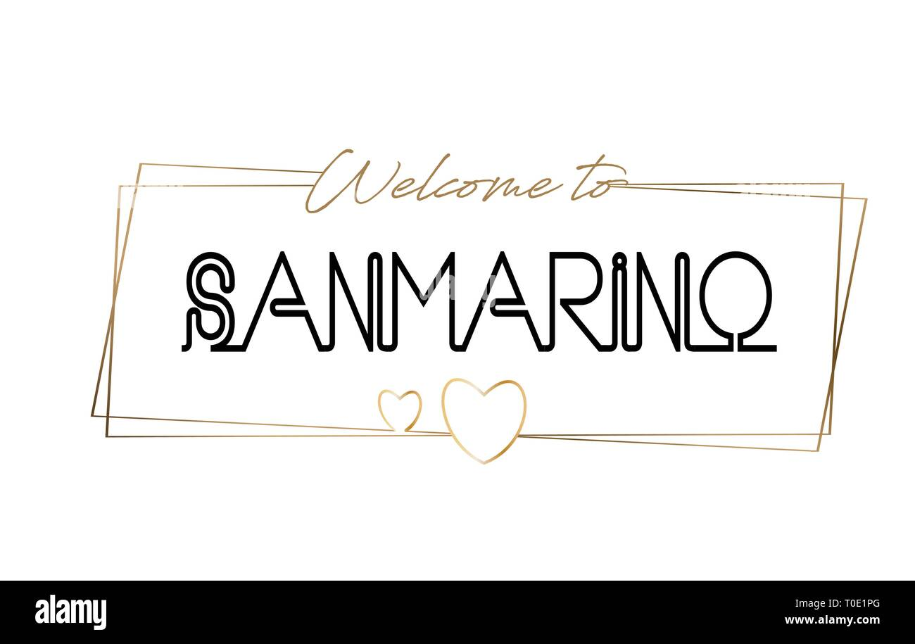 SanMarino Welcome to text Neon lettering typography. Word for logotype, badge, icon, card, postcard, logo, banner with Wired Golden Frames and Hearts  - Stock Image