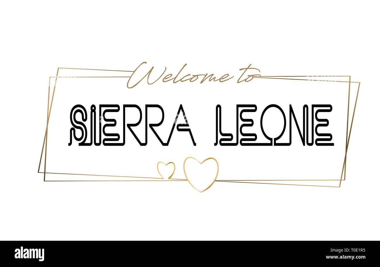 SierraLeone Welcome to text Neon lettering typography. Word for logotype, badge, icon, card, postcard, logo, banner with Wired Golden Frames and Heart - Stock Image
