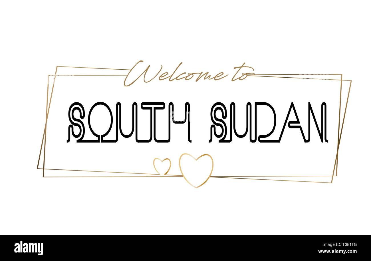 SouthSudan Welcome to text Neon lettering typography. Word for logotype, badge, icon, card, postcard, logo, banner with Wired Golden Frames and Hearts - Stock Image