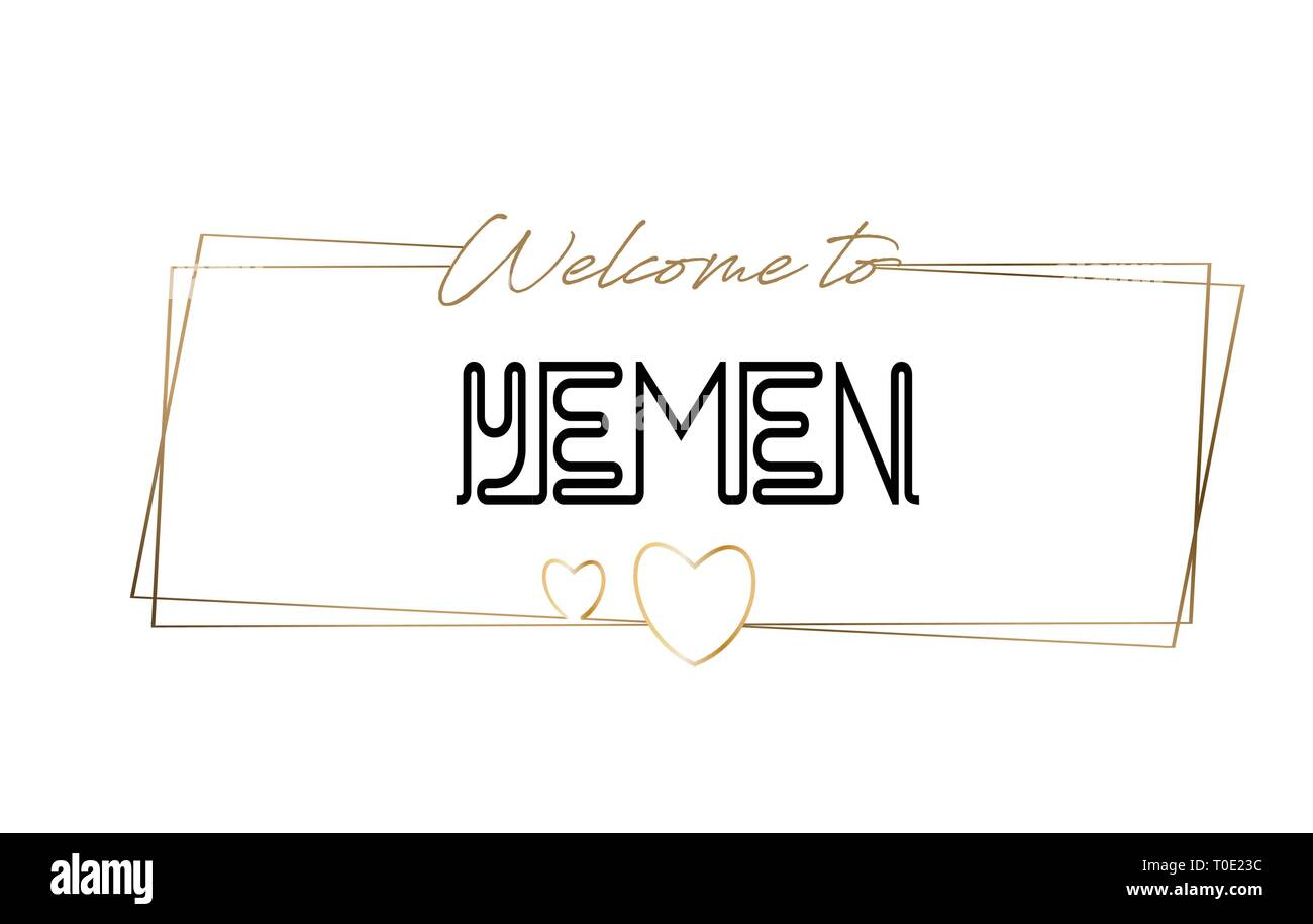 Yemen Welcome to text Neon lettering typography. Word for logotype, badge, icon, card, postcard, logo, banner with Wired Golden Frames and Hearts Desi - Stock Vector