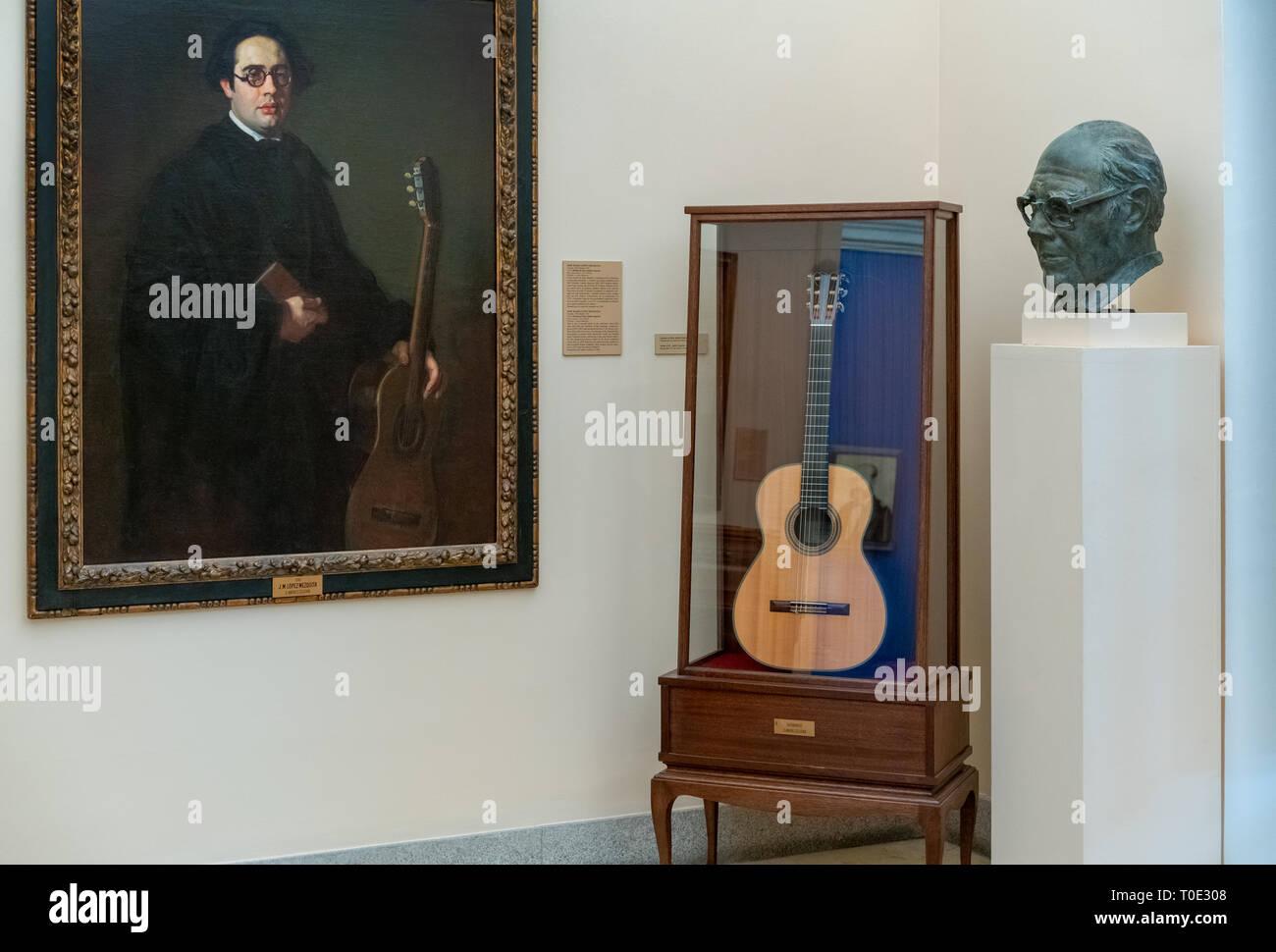 Madrid Royal Academy of Fine Arts Real Academia de Bellas Artes de San Fernando. Room dedicated to Andrés Segovia virtuoso Spanish classical guitarist - Stock Image