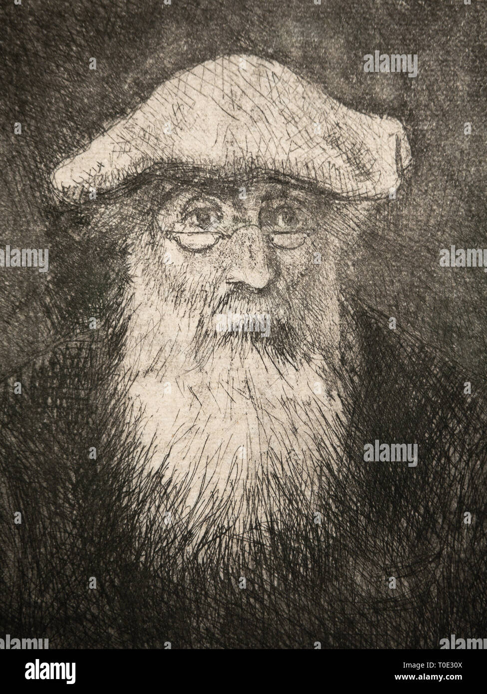 Self Portrait Camille Pissarro, Etching, aquatint, circa 1890, detail. - Stock Image