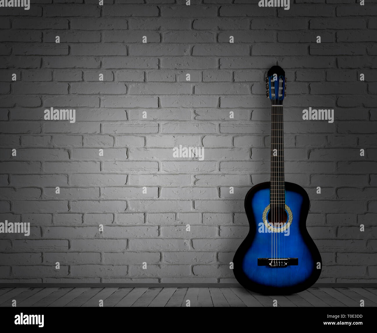 Acoustic Guitar White Background Wall Shadow Stock Photo Alamy