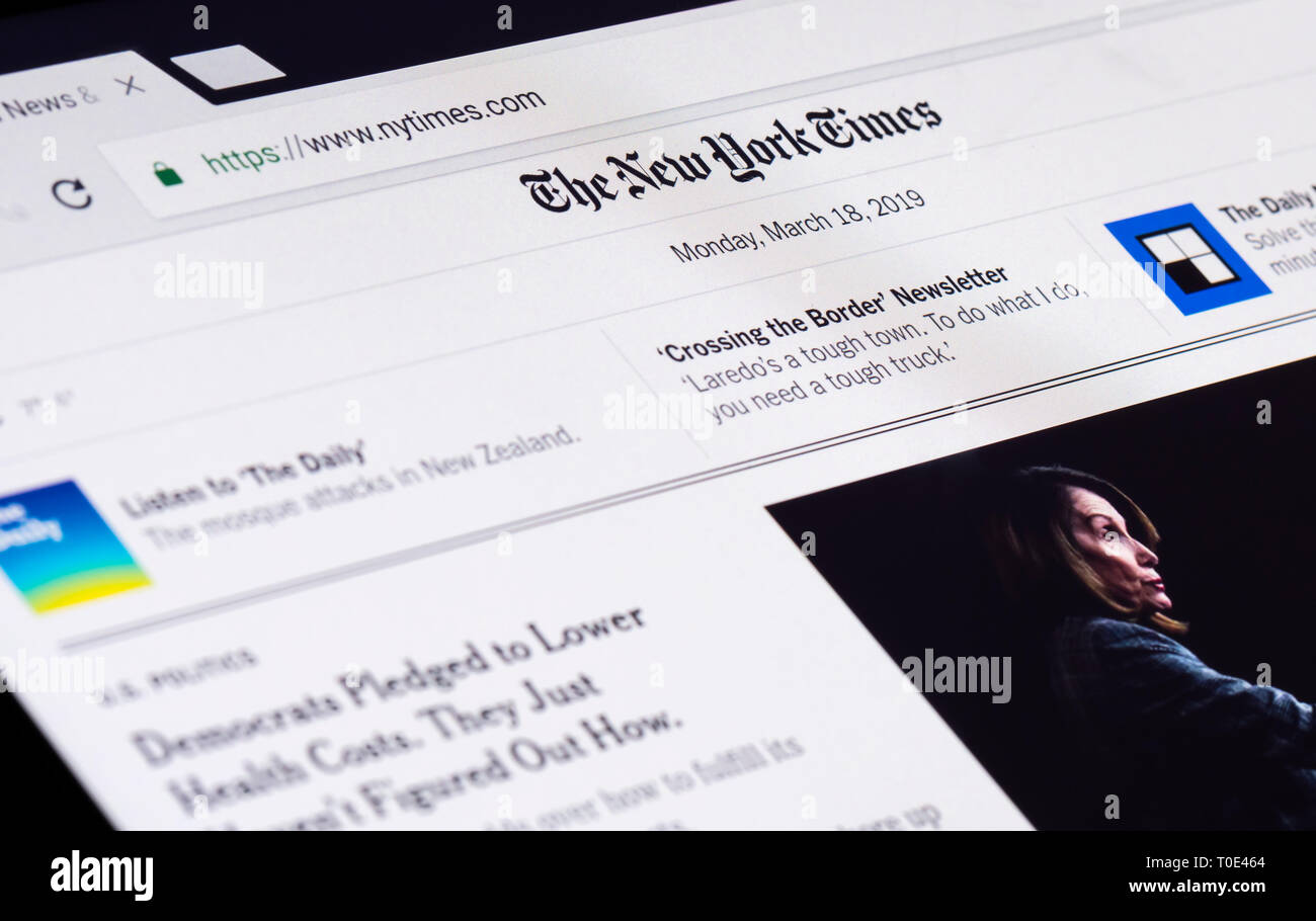 The New York Times (NYT) news website front page for the online version of the American Newspaper. - Stock Image
