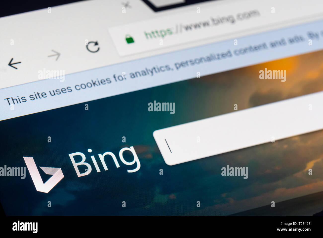 Bing Internet search engine website. - Stock Image