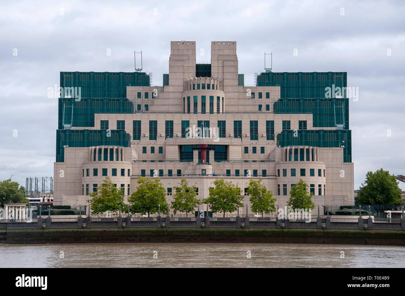 The Secret Intelligence Service Building in Millbank London UK - Stock Image