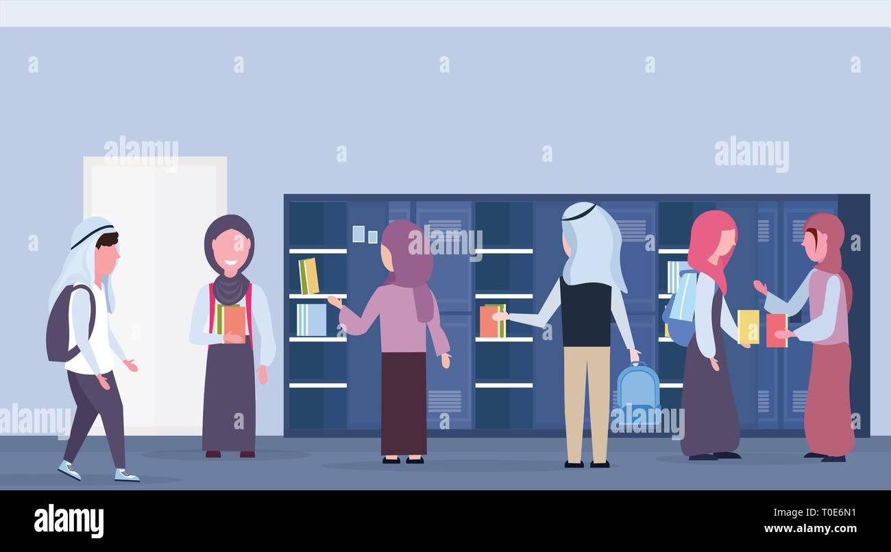 arabic schoolchildren group taking books out of lockers muslim pupils in hijab modern school corridor interior education concept horizontal full - Stock Vector