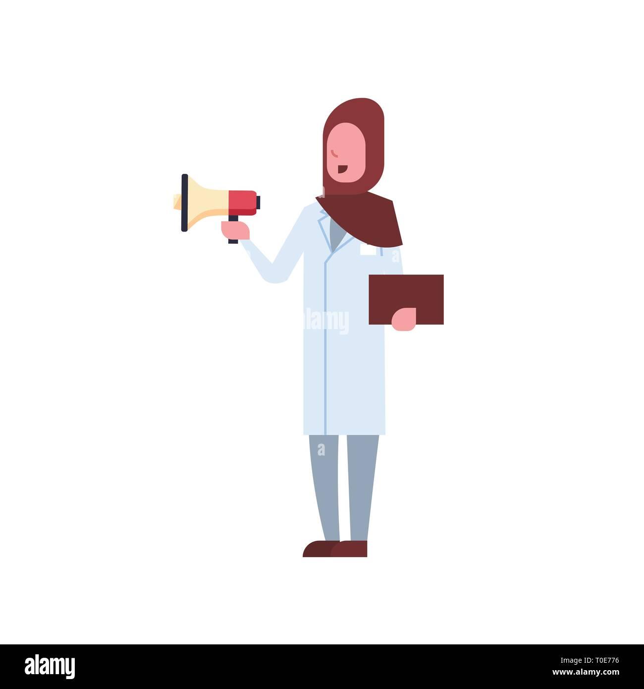 arab female doctor holding loudspeaker shouting through megaphone arabic woman in hijab and uniform hospital medicine worker full length white - Stock Image