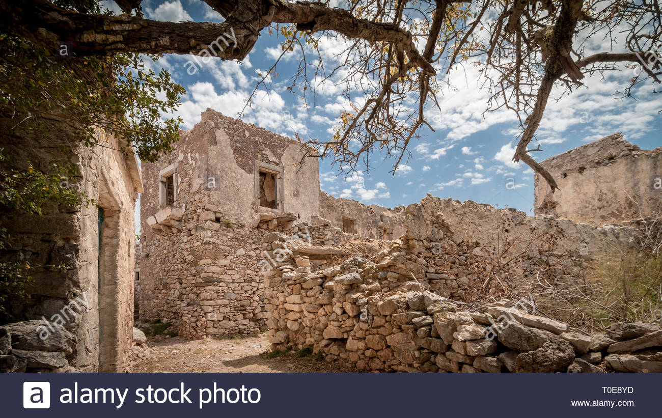 Alley In Abandoned Village And Ruins Of Fortress Kato Chora