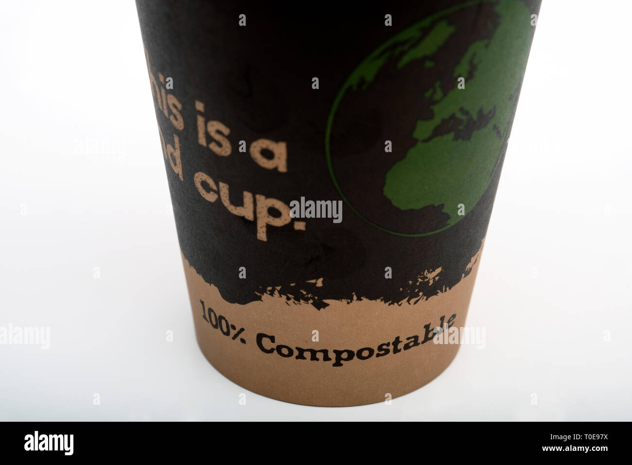 100% compostable coffee cup - Stock Image
