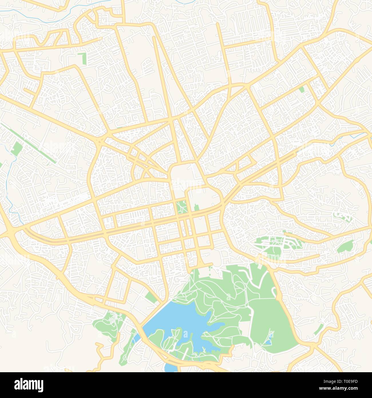 Printable map of Tirana, Albania with main and secondary roads and larger railways. This map is carefully designed for routing and placing individual  - Stock Vector