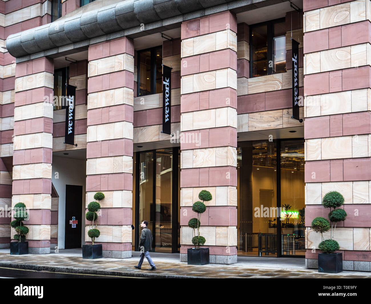 WeWork London - WeWork Coworking Space and Shared Office and Workspaces in the No1 Poultry Building in the City of London Financial District - Stock Image
