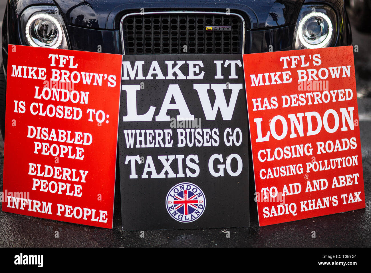 London Taxi Dispute - Taxi Drivers Protest against changes closing certain roads to London Taxis, changes proposed by Transport for London TFL - Stock Image