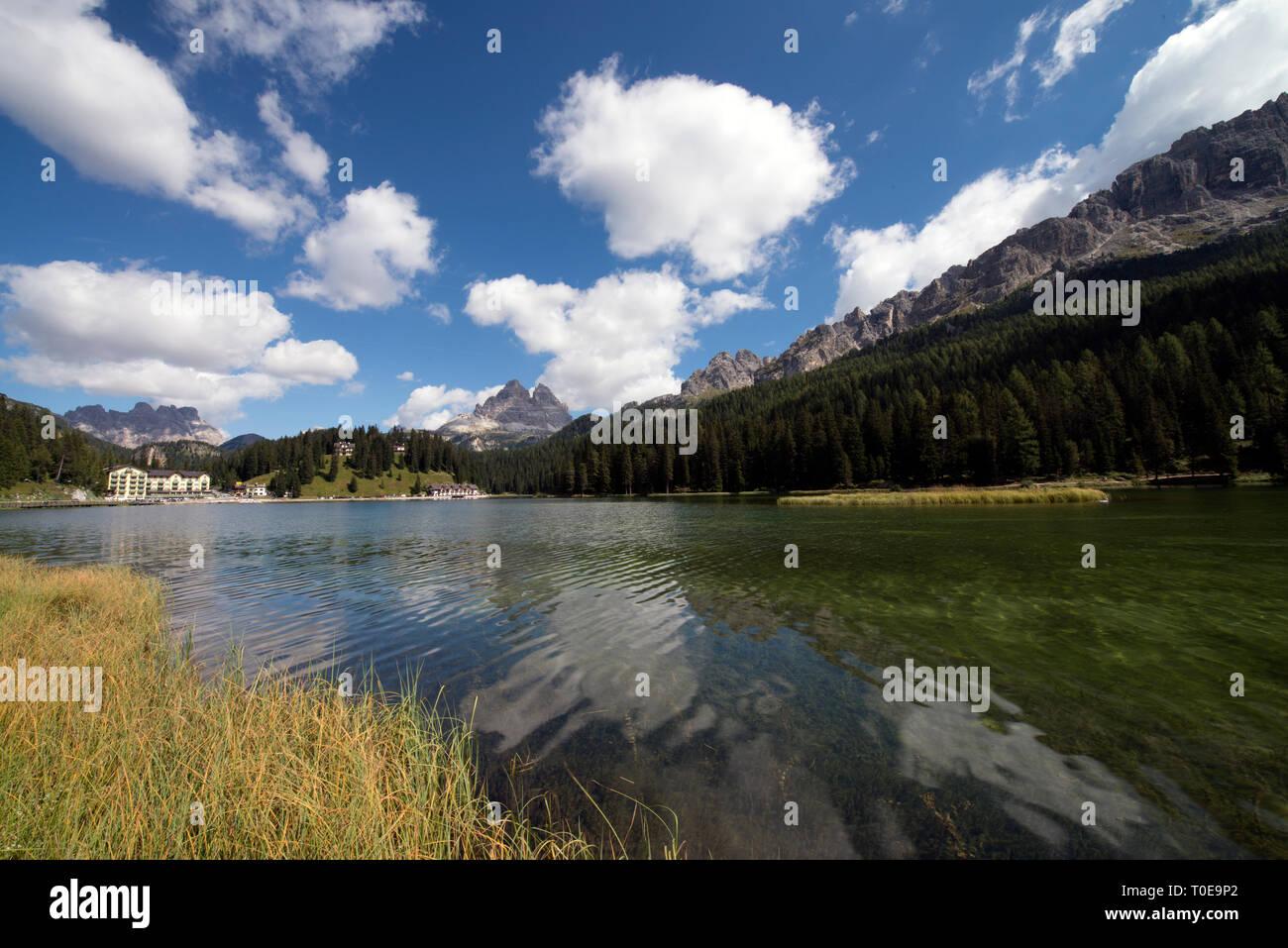 View of Misurina Lake ( also called Lago di Misurina ) in Belluno, Veneto, Italy - Stock Image