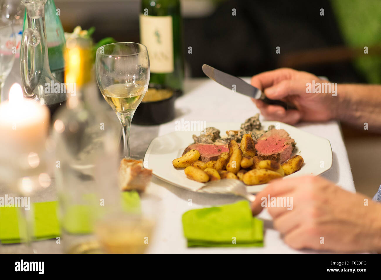 Beef tenderloin, morels and ratte potatoes for christmas diner. French speciality for festive Christmas celebration. Stock Photo