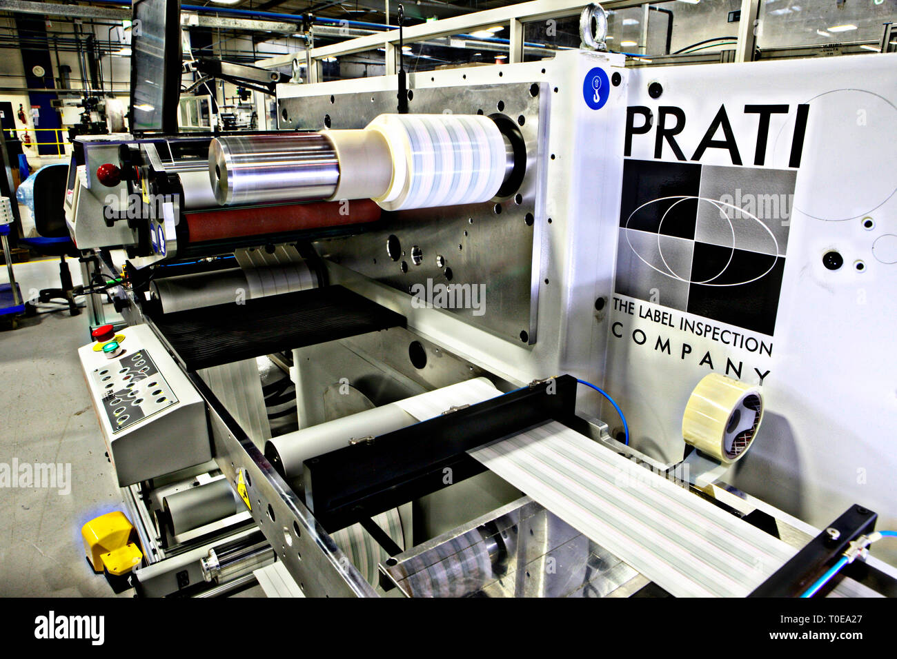 Industrial Machinery used in the printing of pharmaceutical packaging - Stock Image
