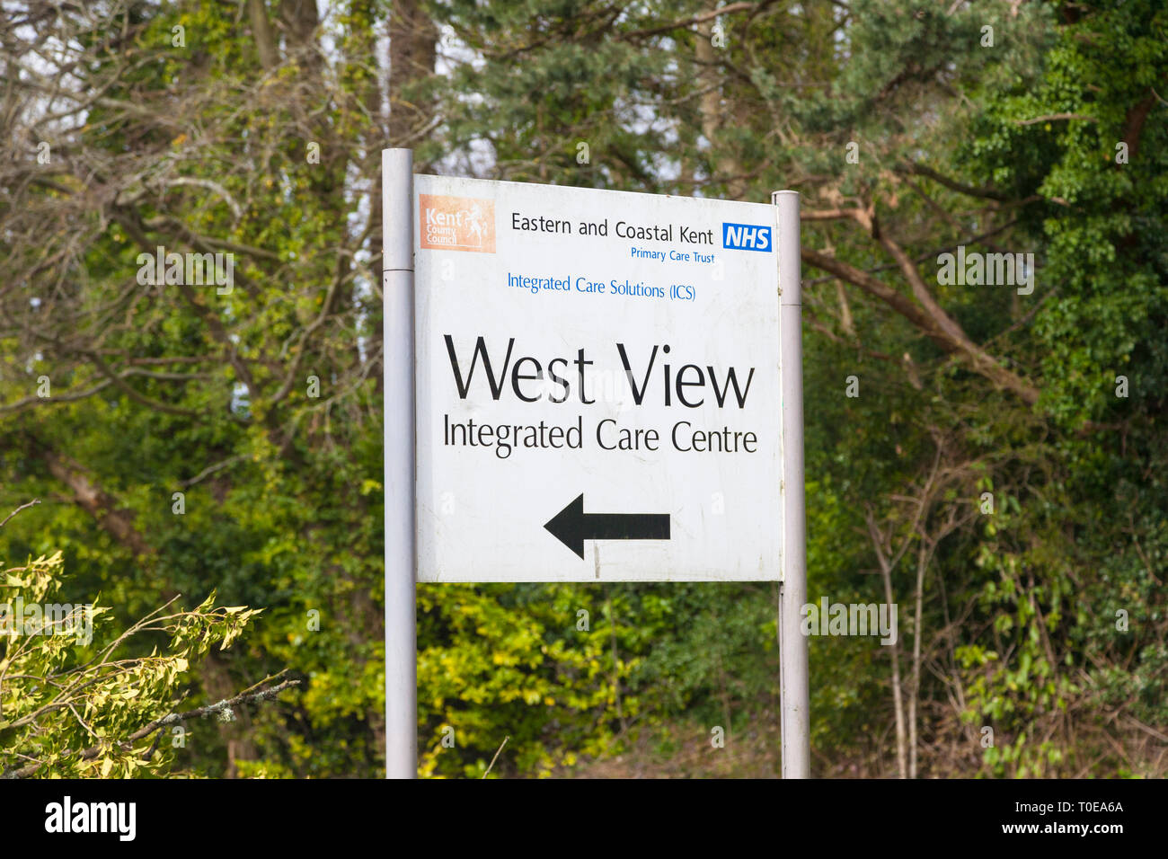 Sign for NHS west view, integrated care centre, tenterden, kent, uk - Stock Image