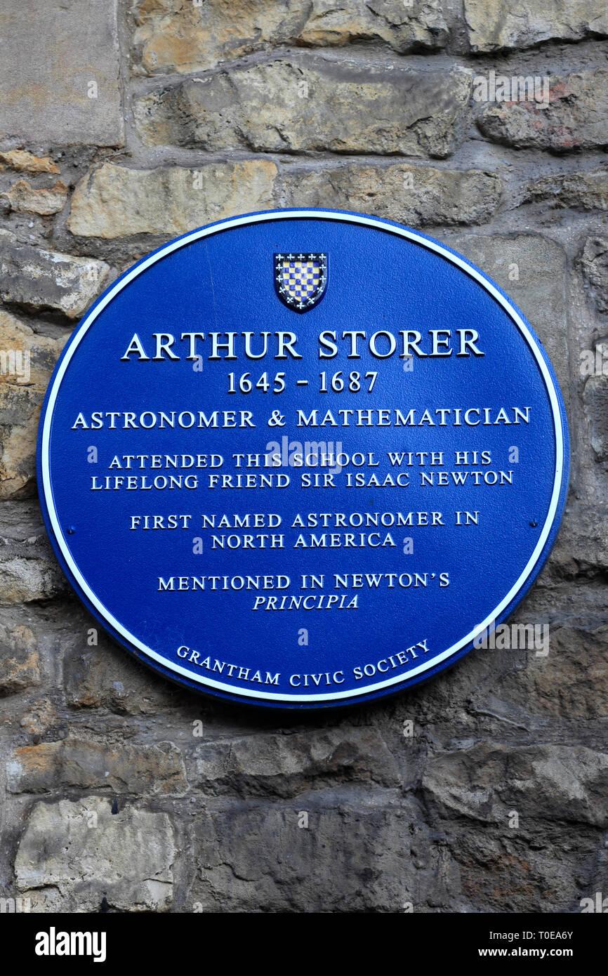 Arthur Storer plaque, Kings school hall, Castlegate, Grantham town, Lincolnshire, England; UK - Stock Image