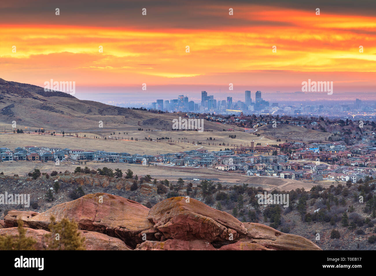Denver, Colorado, USA downtown skyline viewed from Red Rocks at dawn. - Stock Image