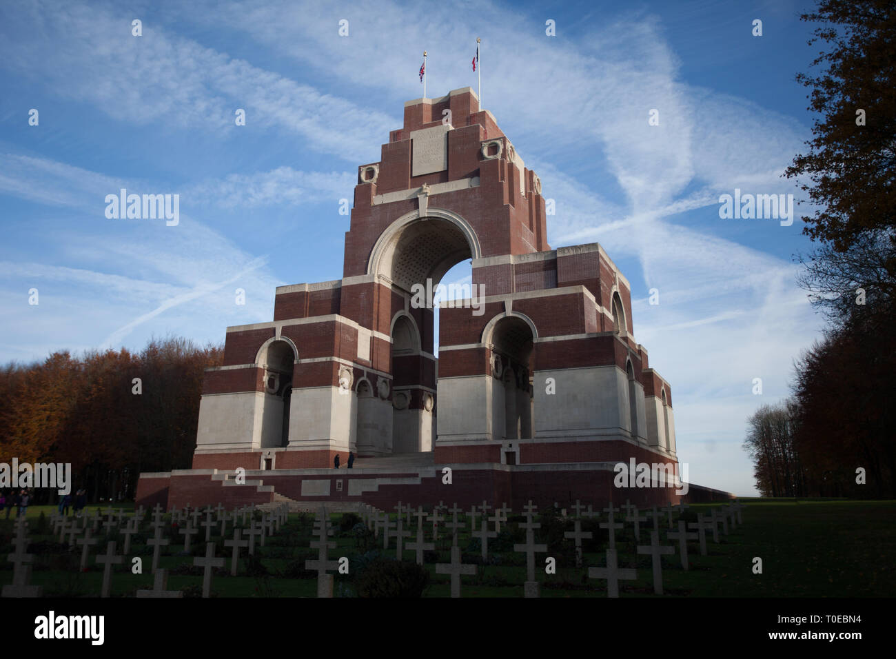 The Theipval memorial commemorates more than 72,000 troops who died in the Somme sector before 20 March 1918 and have no known graves. - Stock Image