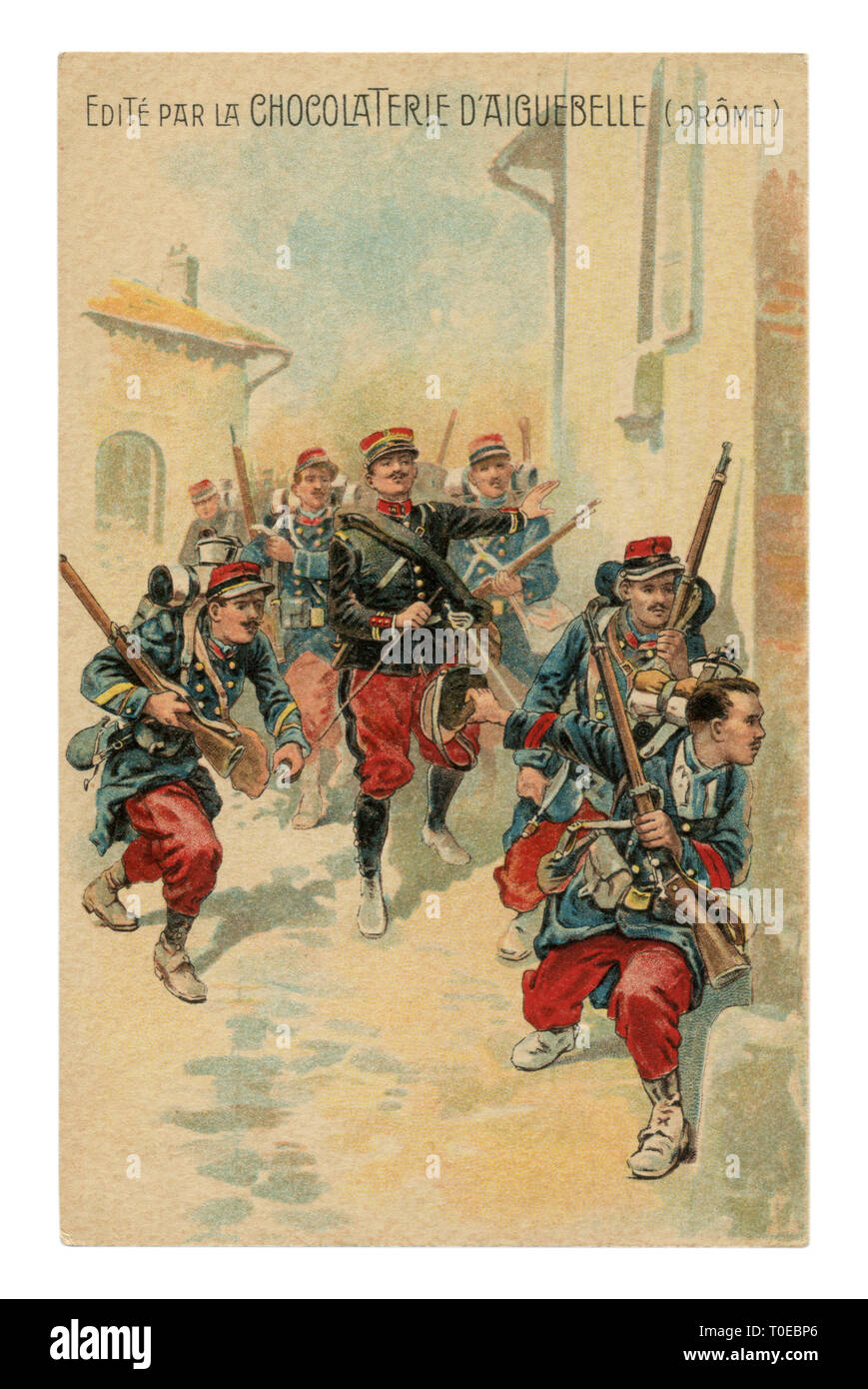 French historical advertising chromolithographic postcard: officer leads a soldier infantry with rifles through the streets of the enemy city, street - Stock Image