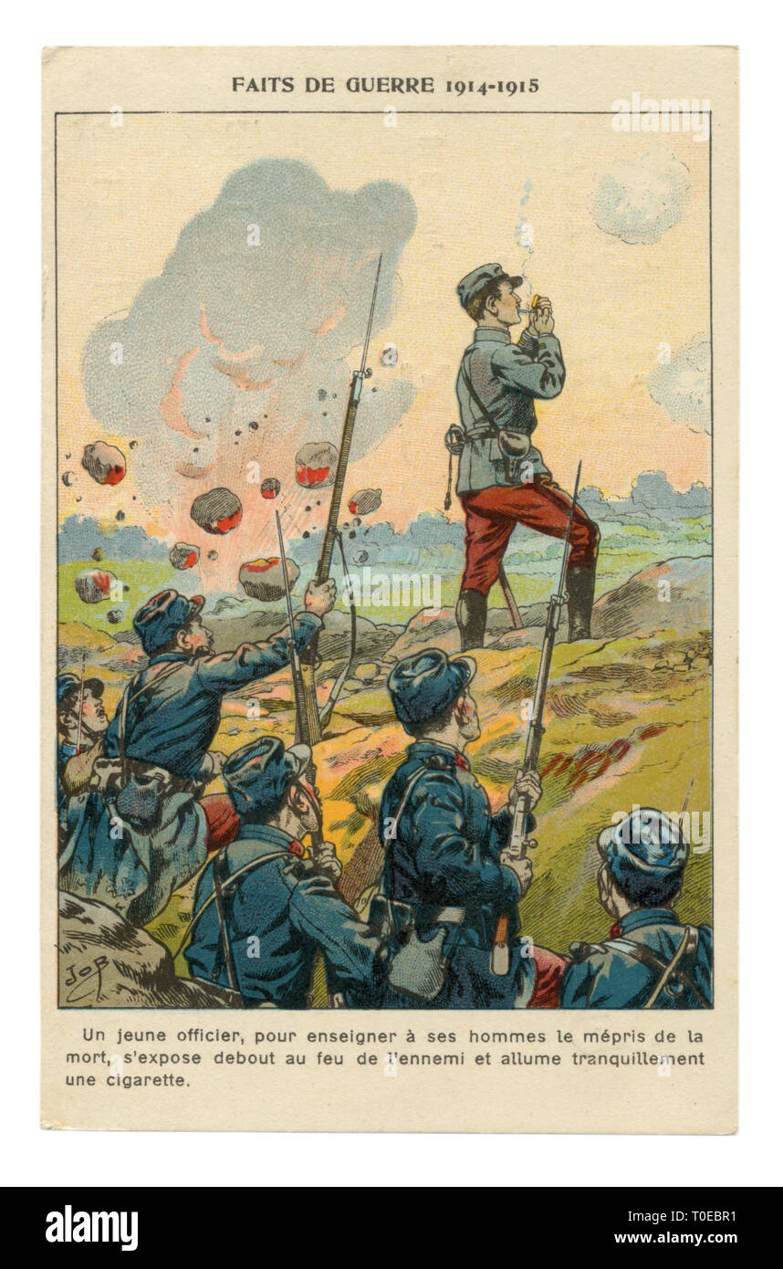 French historical advertising chromolithographic postcard: An officer despite the shelling by the enemy lights a cigarette, standing full-length - Stock Image