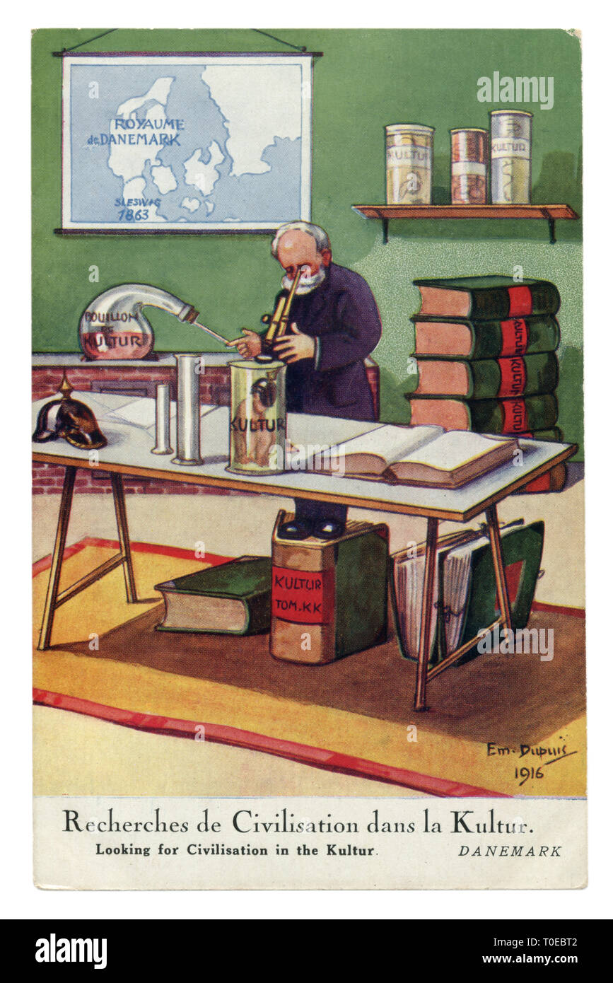 French historical postcard:  Political satire in a neutral country: Looking for Civilisation in the kultur, Denmark and Germany, desk science, 1916 - Stock Image