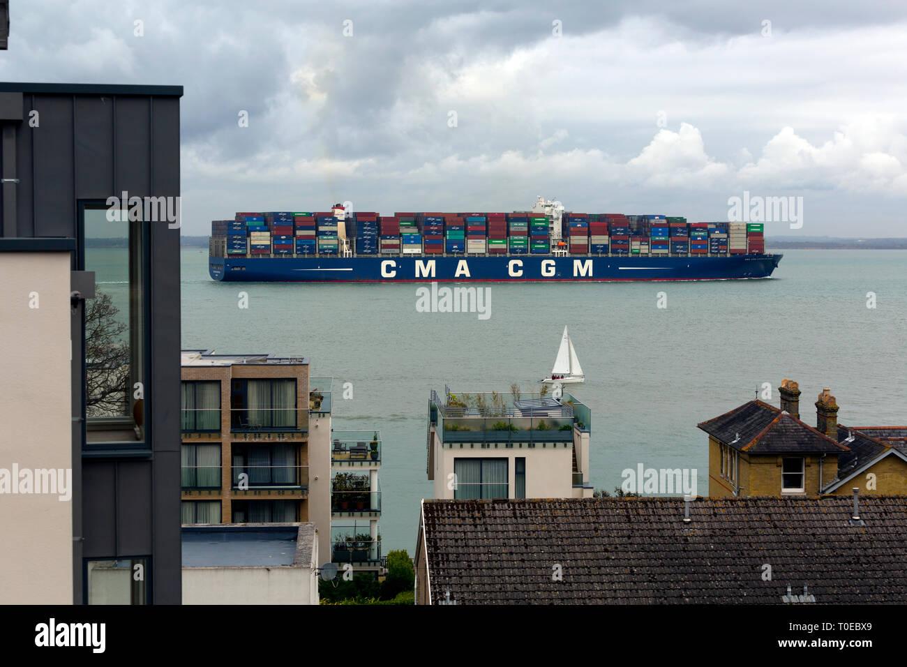 CMA, CGM, Vasco de Garma, Ship, The Solent, heading, Southampton, Container, Terminal, Cowes, Isle of Wight, Hampshire, England, UK, departing - Stock Image