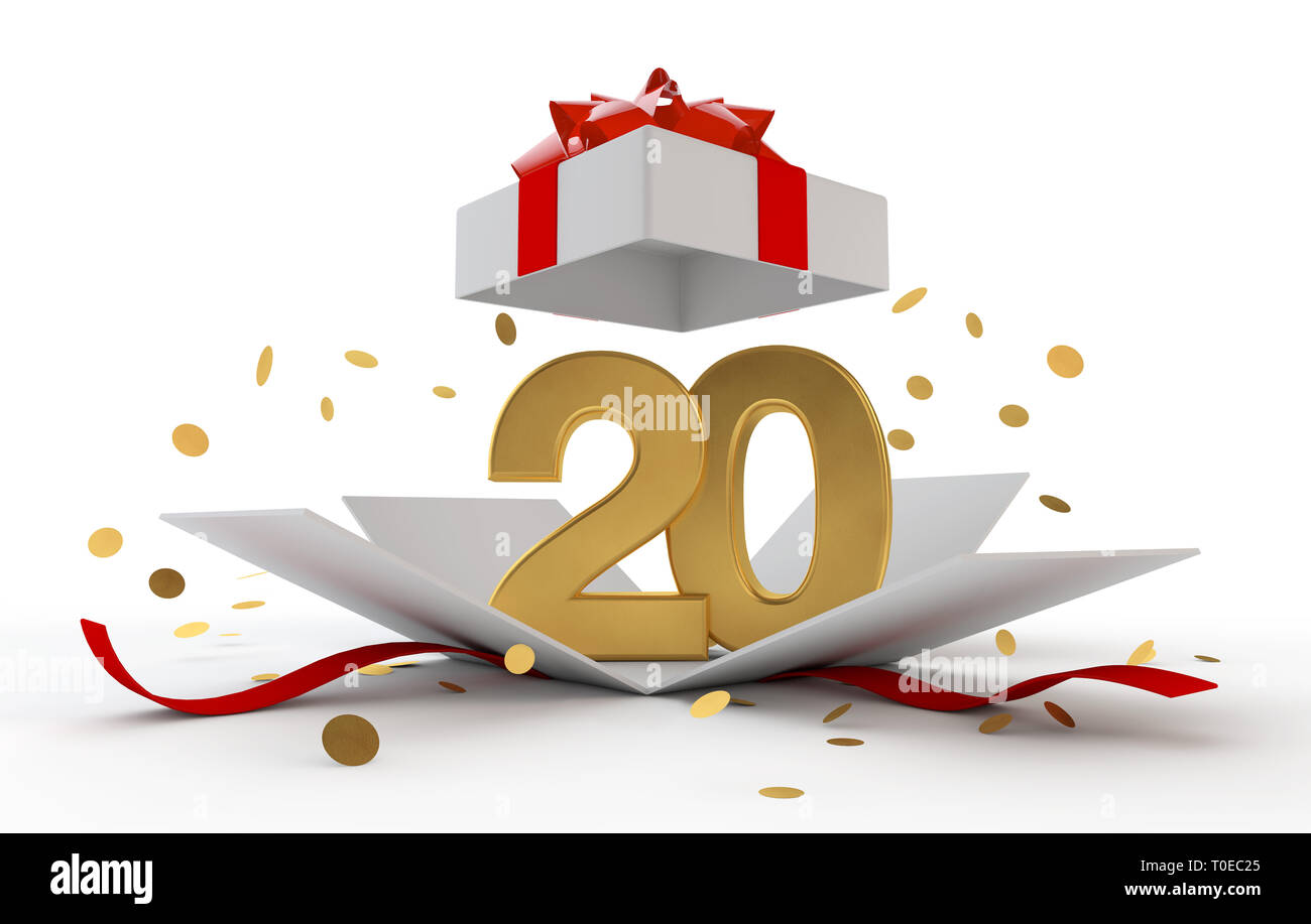 Happy 20th Birthday Gold Surprise Boxwith Red Ribbon 3D Rendering