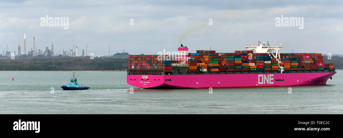 Pink,Ship, One Columbia, Panama, The Solent, heading, Southampton, Container Terminal, Cowes, Isle of Wight, Hampshire, England, UK - Stock Image