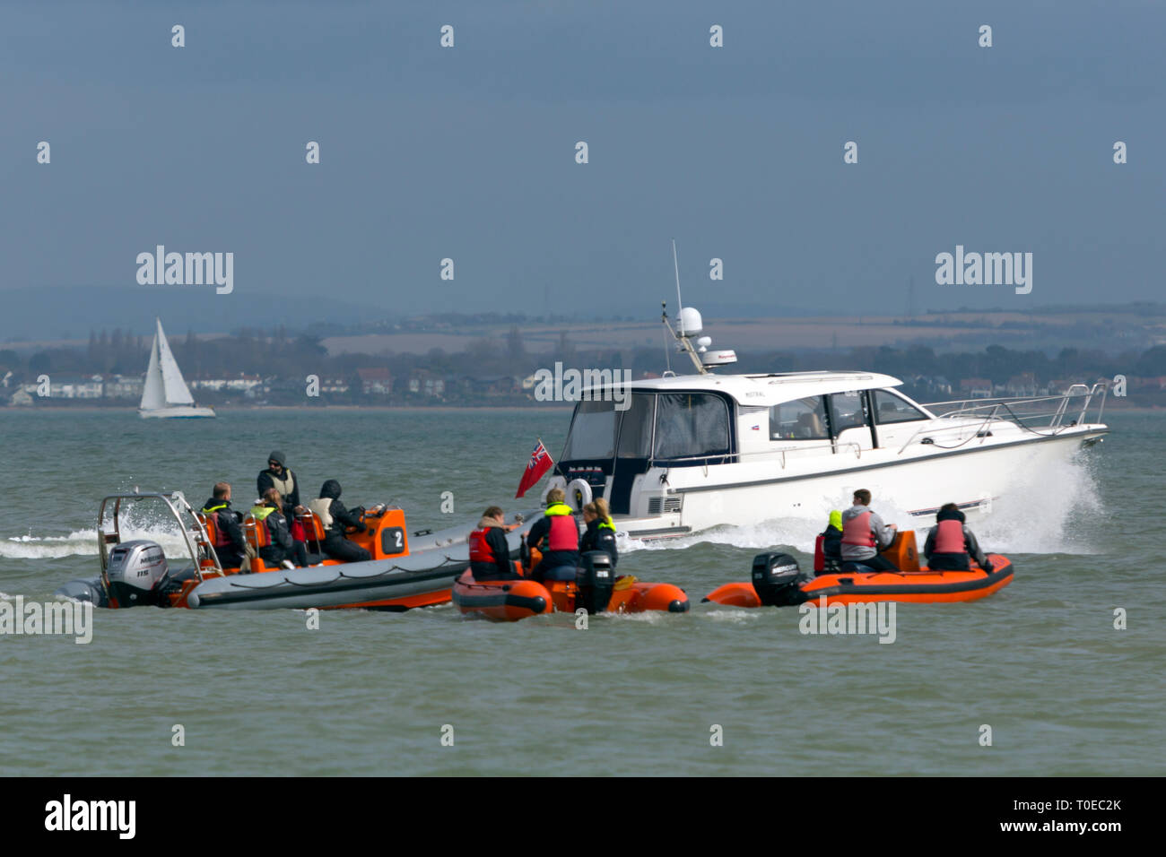 RIB,RIBs, ridged,inflatable,boat,RYA,teaching,learning,course,handling,Cowes,Isle of Wight, England, UK, - Stock Image