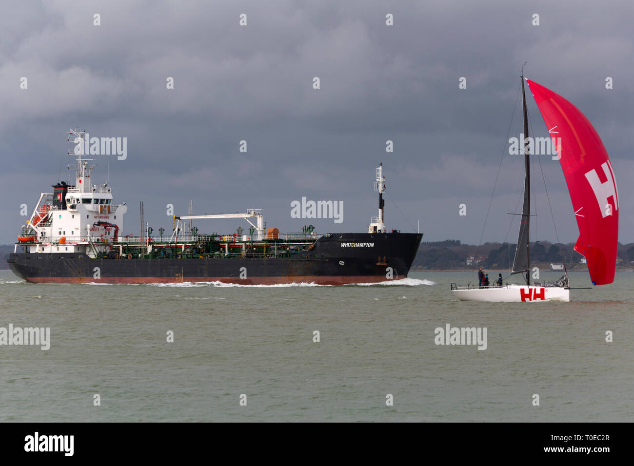 Oil,Products,Tanker,ship,Whitchampion,hazard,a,major,The Solent,Southampton,Fawley,Refinery,Cowes, isle of Wight,England,UK, - Stock Image