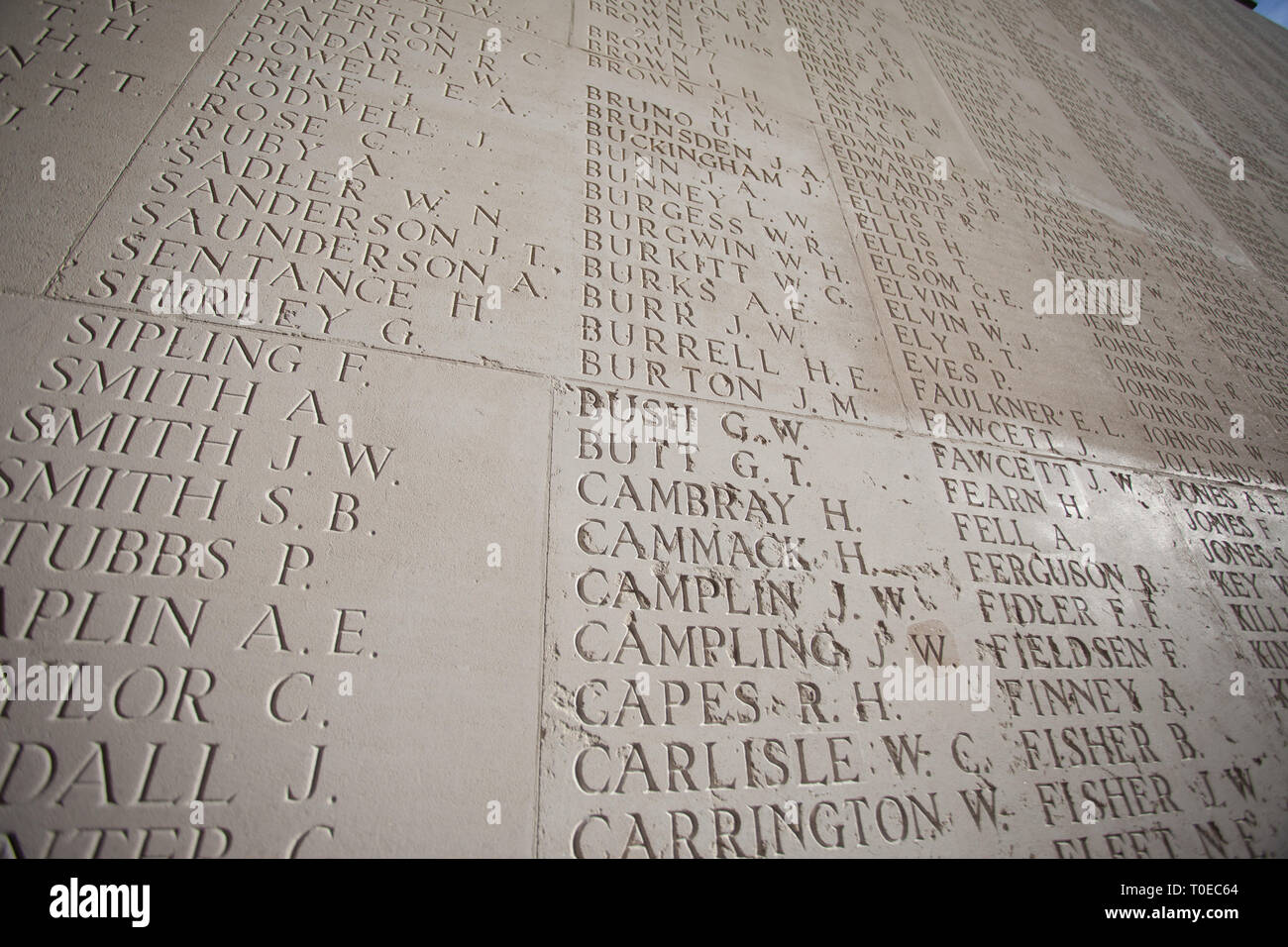 The names of 72,000 plus soldiers of the allied forces who died in the Somme, who have no known grave, inscribed in limestone at Theipval Memorial. - Stock Image