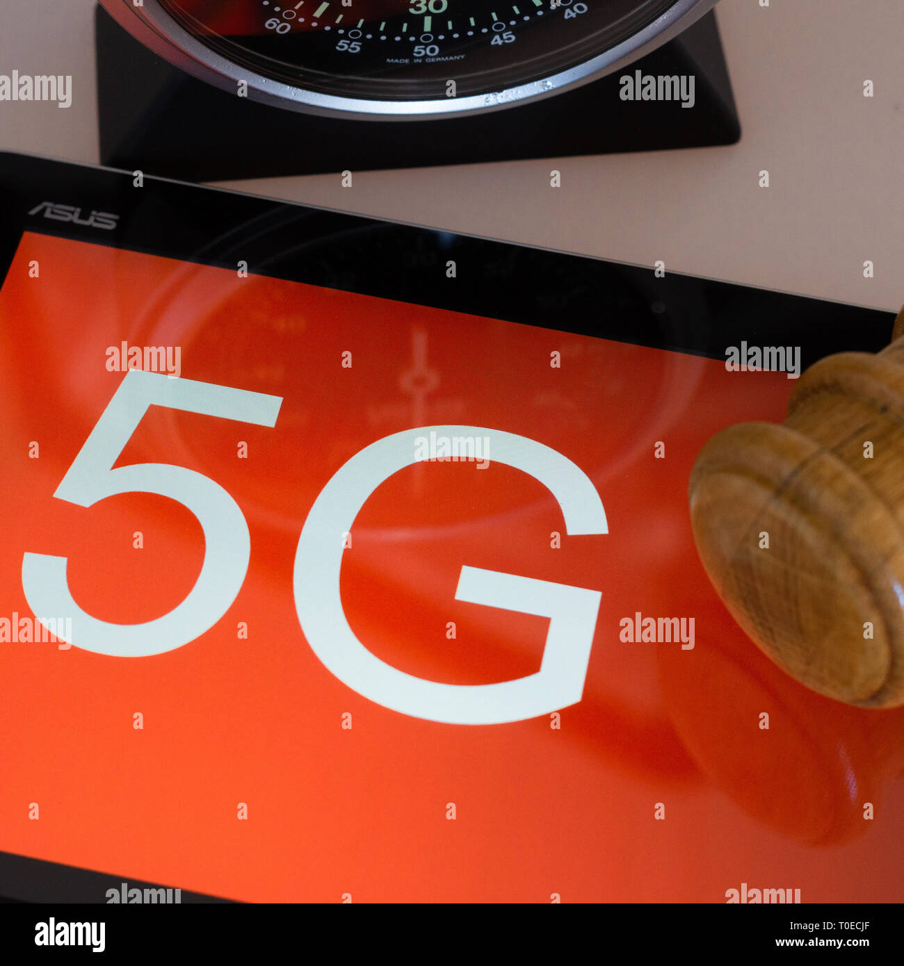Mainz, Germany, March 19 2019: Symbolic picture for start of the 5G frequency auction. - Stock Image