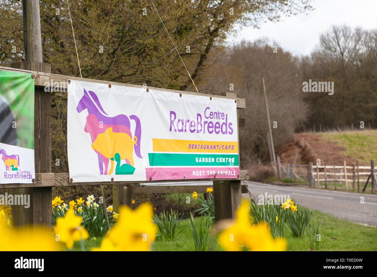 Rare breeds centre sign, woodchurch, kent, uk - Stock Image