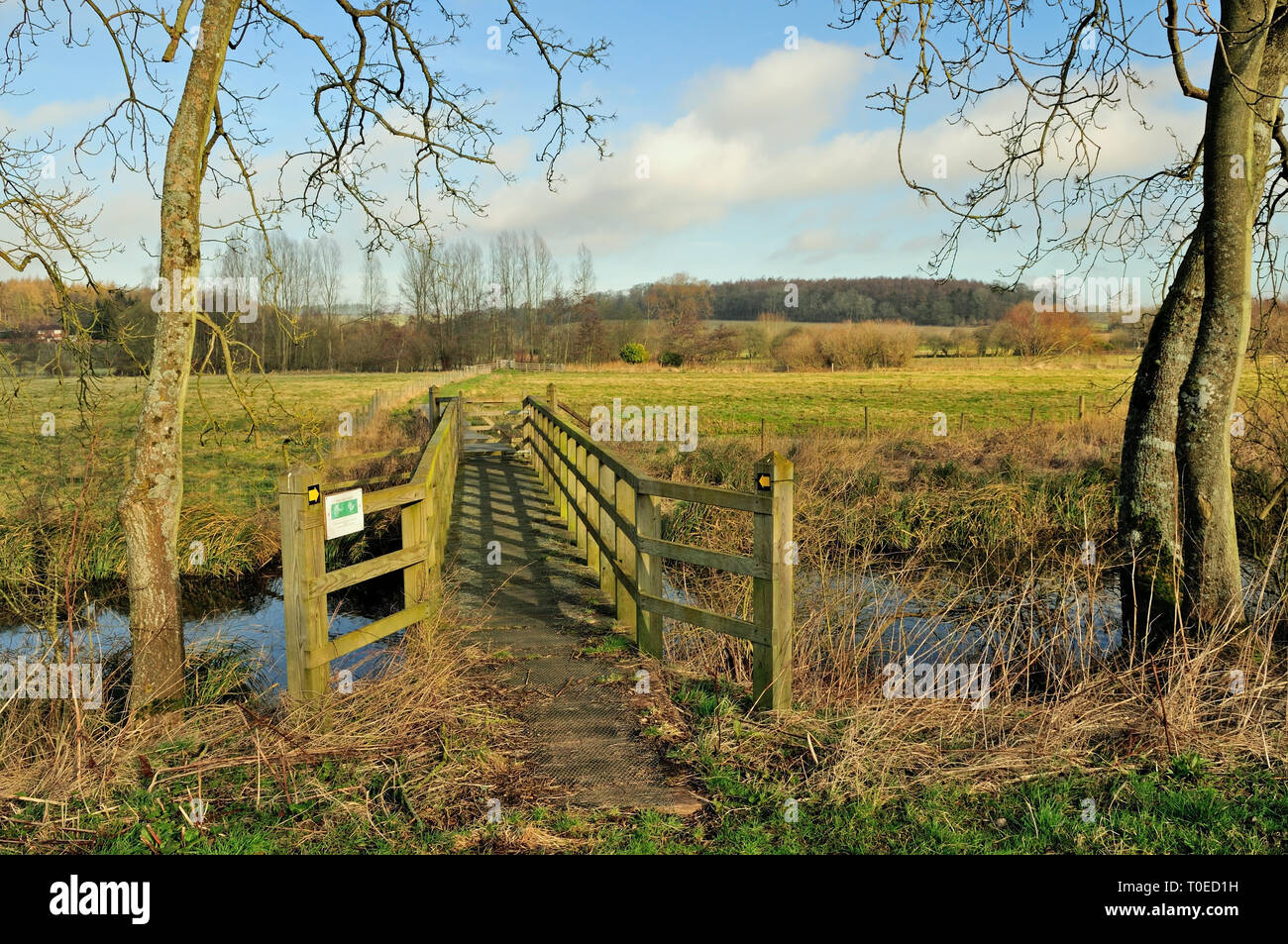 A footbridge over a tributary of the river Kennet near Axford, Wiltshire. Stock Photo