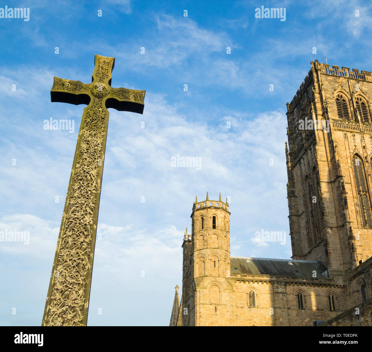 Cross outside Durham cathedral. UK - Stock Image