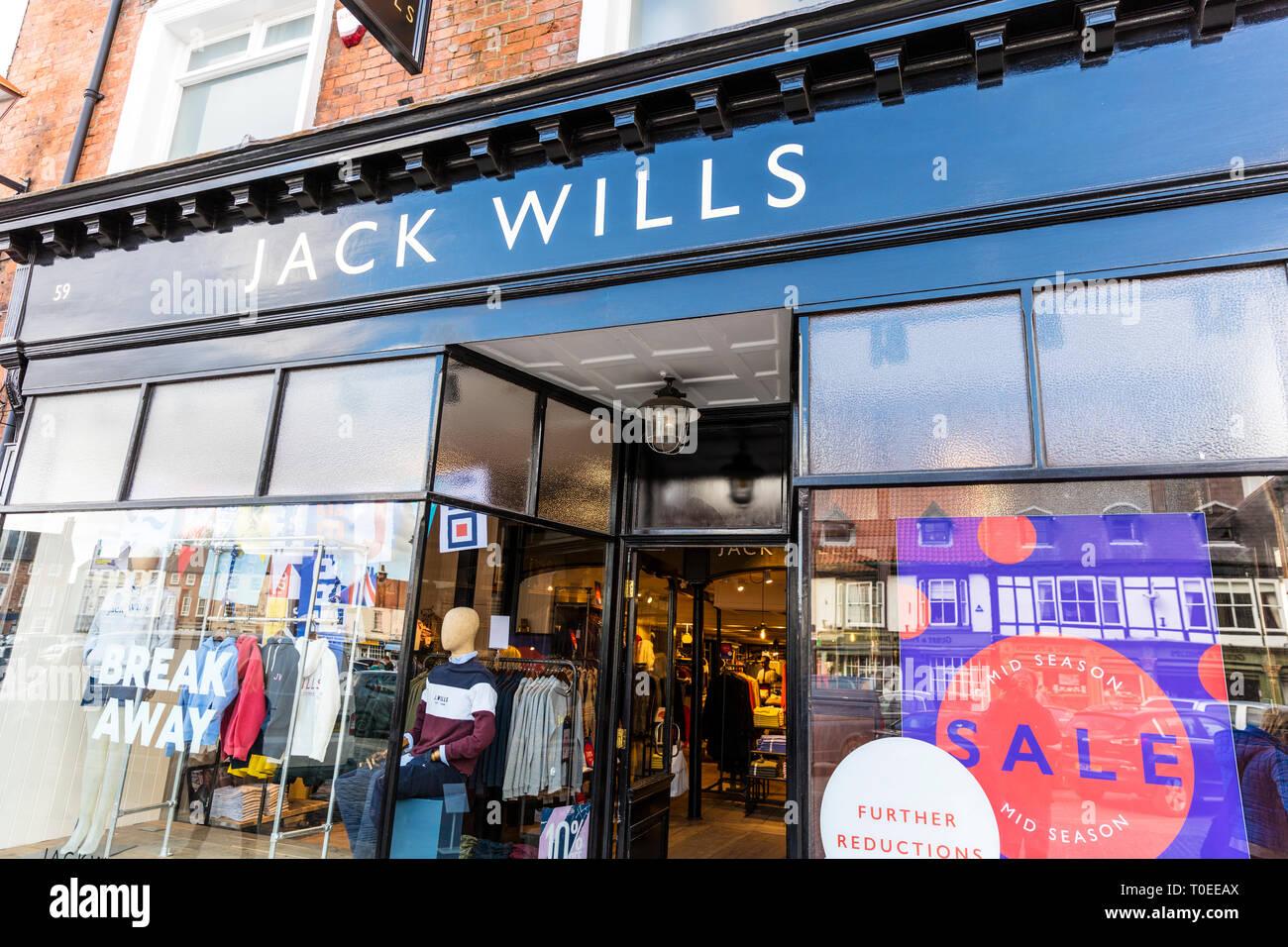 Jack Wills clothing store, Jack Wills shop, Jack Wills store, Jack Wills store front, Jack Wills fashion, Jack Wills, shop, store, UK, sign, logo, Stock Photo