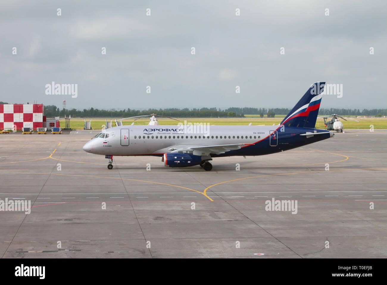 Kazan, Russia - Jul 19, 2018: Plane 'K. Kuliev' on taxiing at airport - Stock Image