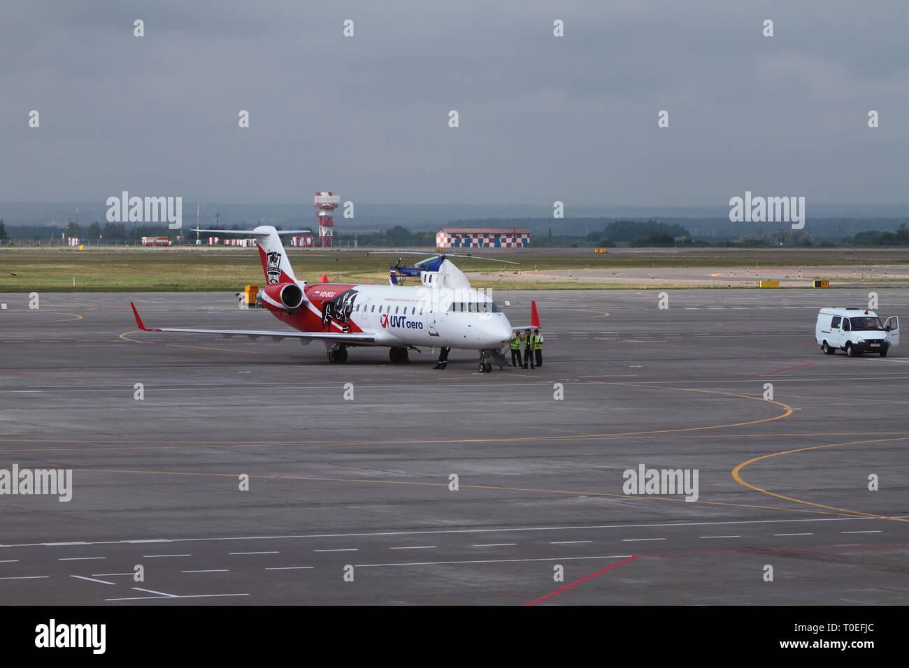 Kazan, Russia - Jul 19, 2018: Maintenance of plane on airfield Stock Photo
