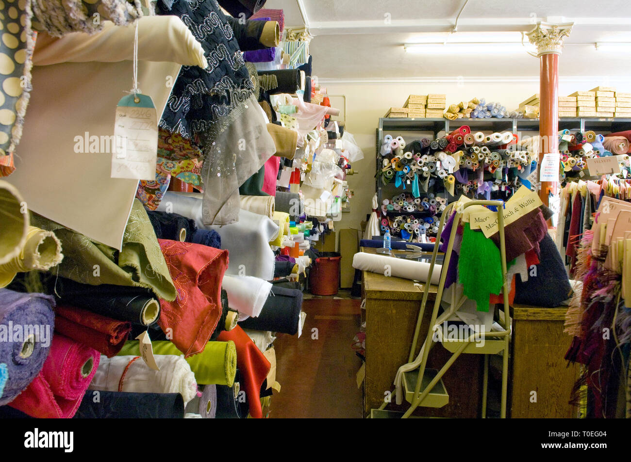 Macculloch & Wallis a fabric shop in Soho, London - Stock Image