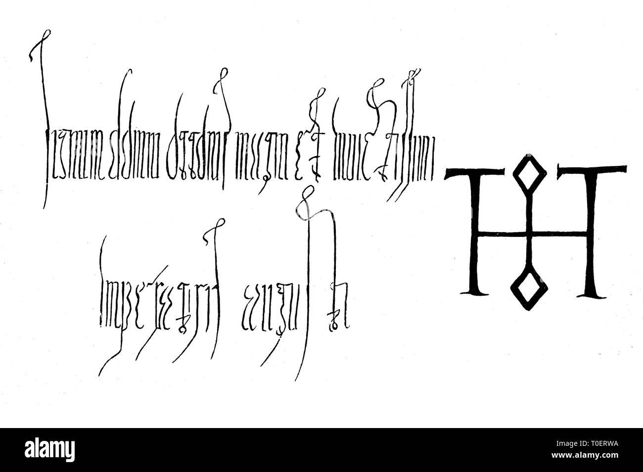 Signum of Otto the Great, from a document of the year 1016  /  Signum von Otto der Große auf einer Urkunde aus dem Jahre 970 - Stock Image